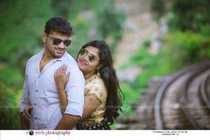 Couples Near Rail Track Post wedding